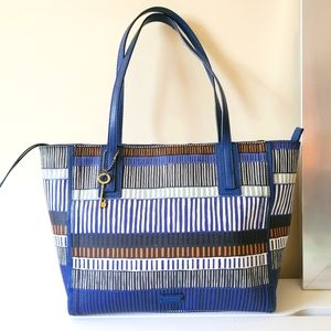 Fossil Large Coated Canvas Blue Tote Bag